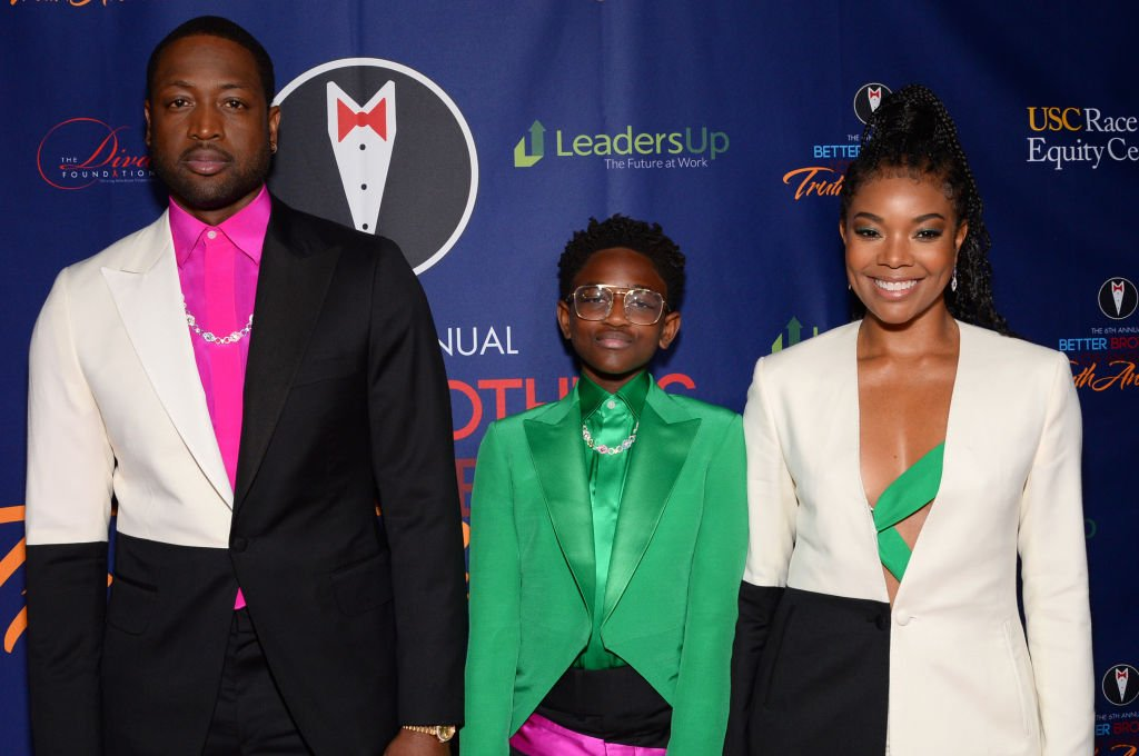 Dwyane Wade, Zaya Wade and Gabrielle Union attend the Better Brothers Los Angeles 6th annual Truth Awards,2020  Photo: Getty Images