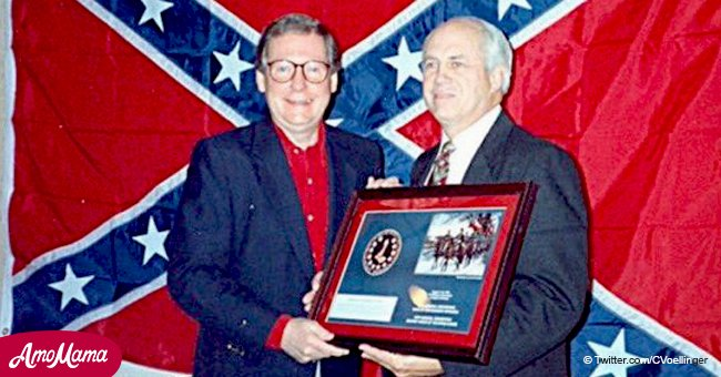 Picture of Mitch McConnell posing with a confederate flag takes the Internet by storm again