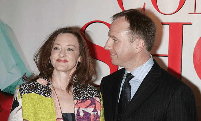 """Joan Cusack and her husband, Richard Burke arrive for the premiere of """"Confessions of a Shopaholic,"""" at the Ziegfeld Theatre on February 5, 2009, in New York 