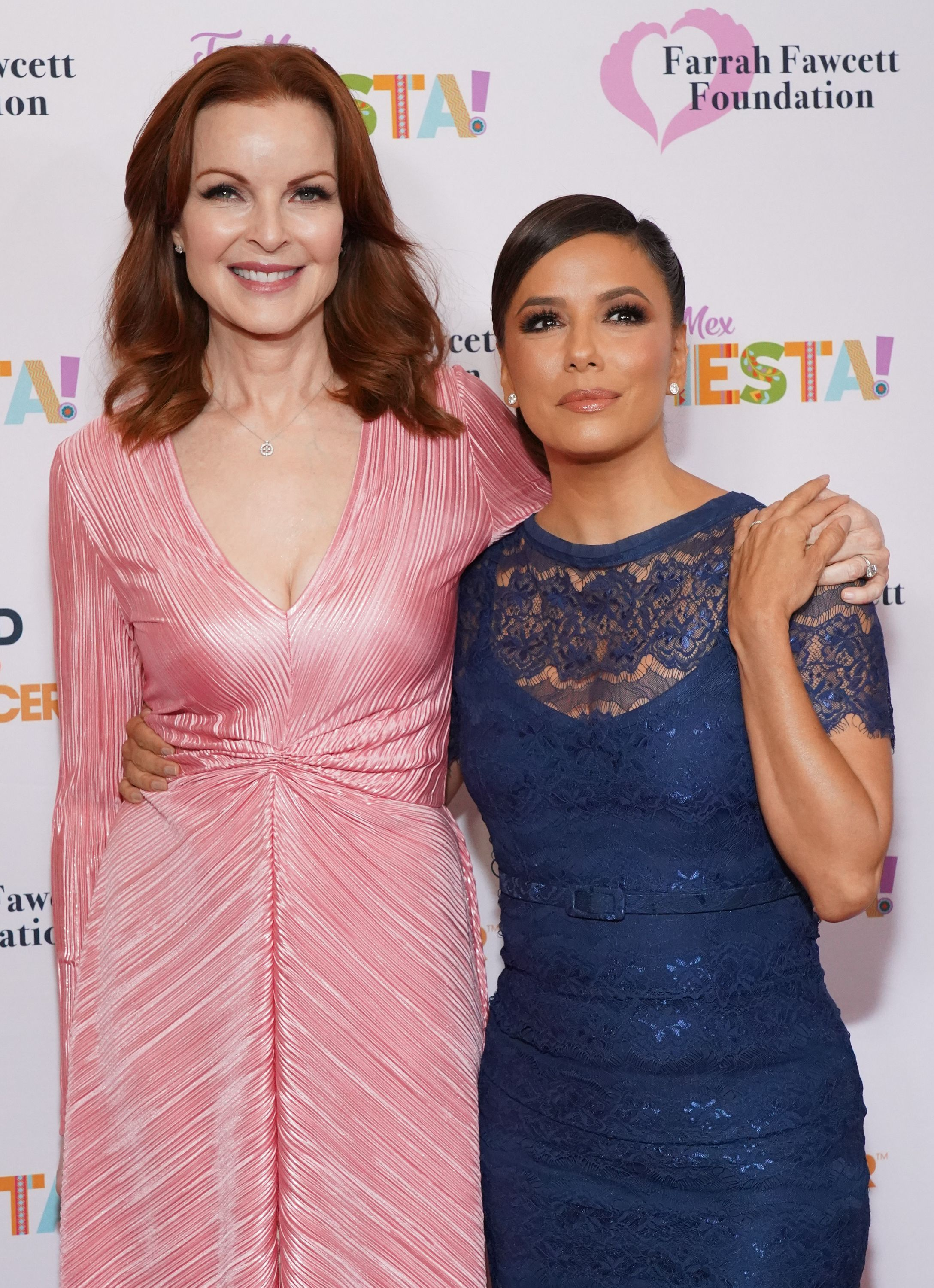 Marcia Cross and Eva Longoria attend the Farrah Fawcett Foundation's Tex-Mex Fiesta at Wallis Annenberg Center for the Performing Arts on September 06, 2019 in Beverly Hills, California. | Source: Getty Images