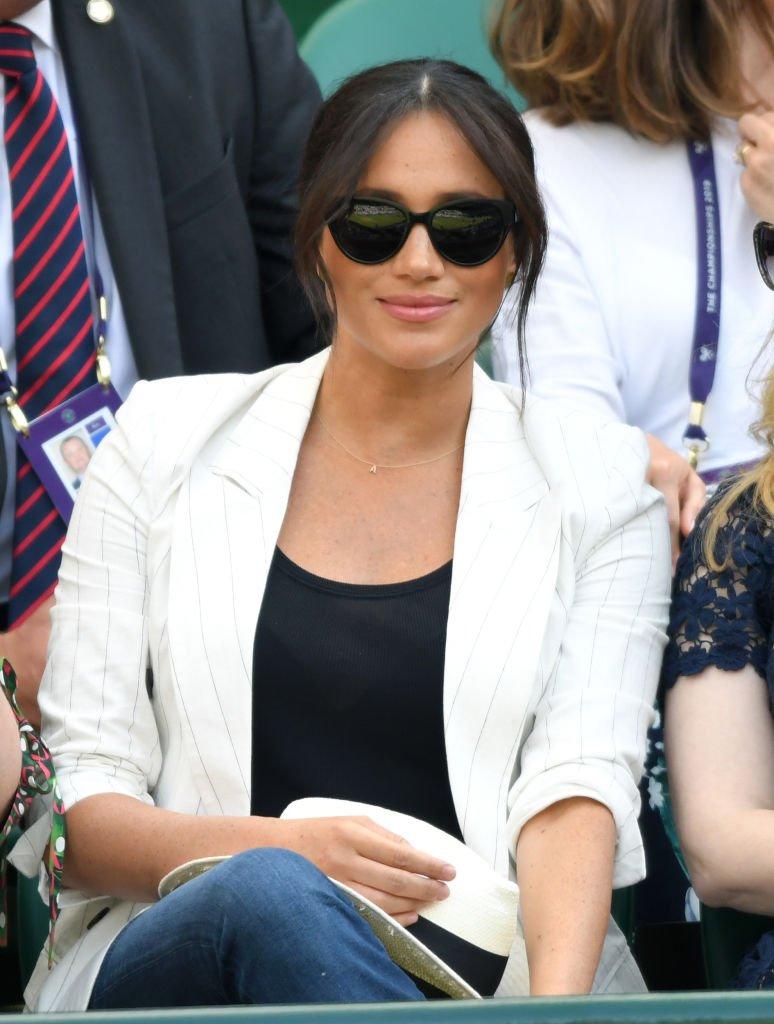 Meghan Markle le 4 juillet à Londres pour le tournoi de tennis de Wimbledon. l Source : Getty Images