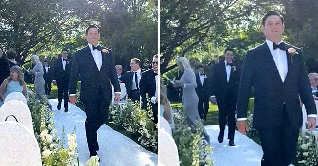 Groomsman walking down the aisle with father-in-law's girlfriend scurrying behind him.   Source: reddit.com/Jessica826