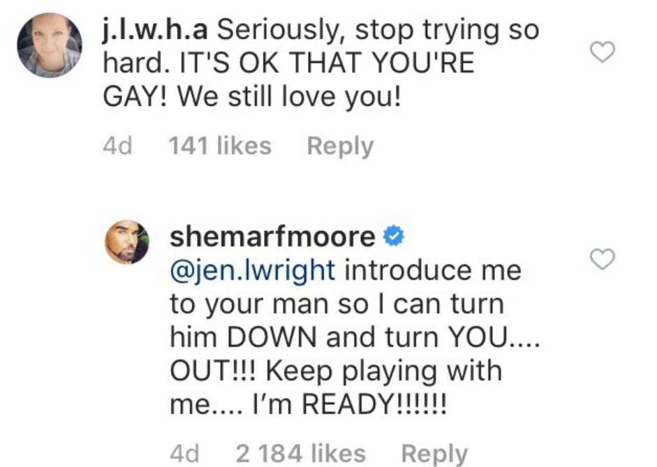 Great response from Shemar! l Image: Instagram.com/shemarfmoore