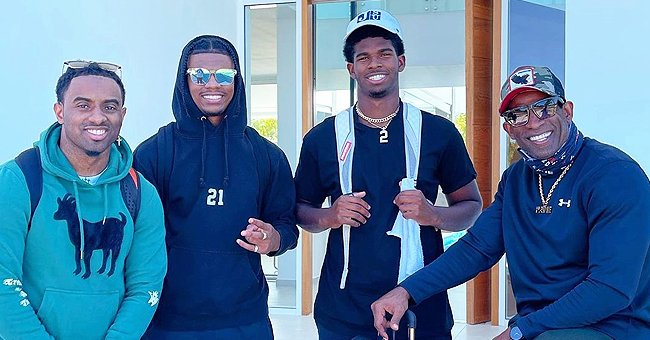 Deion Sanders & His 3 Sons Show Their Likeness to One Other While Posing Together in a New Pic