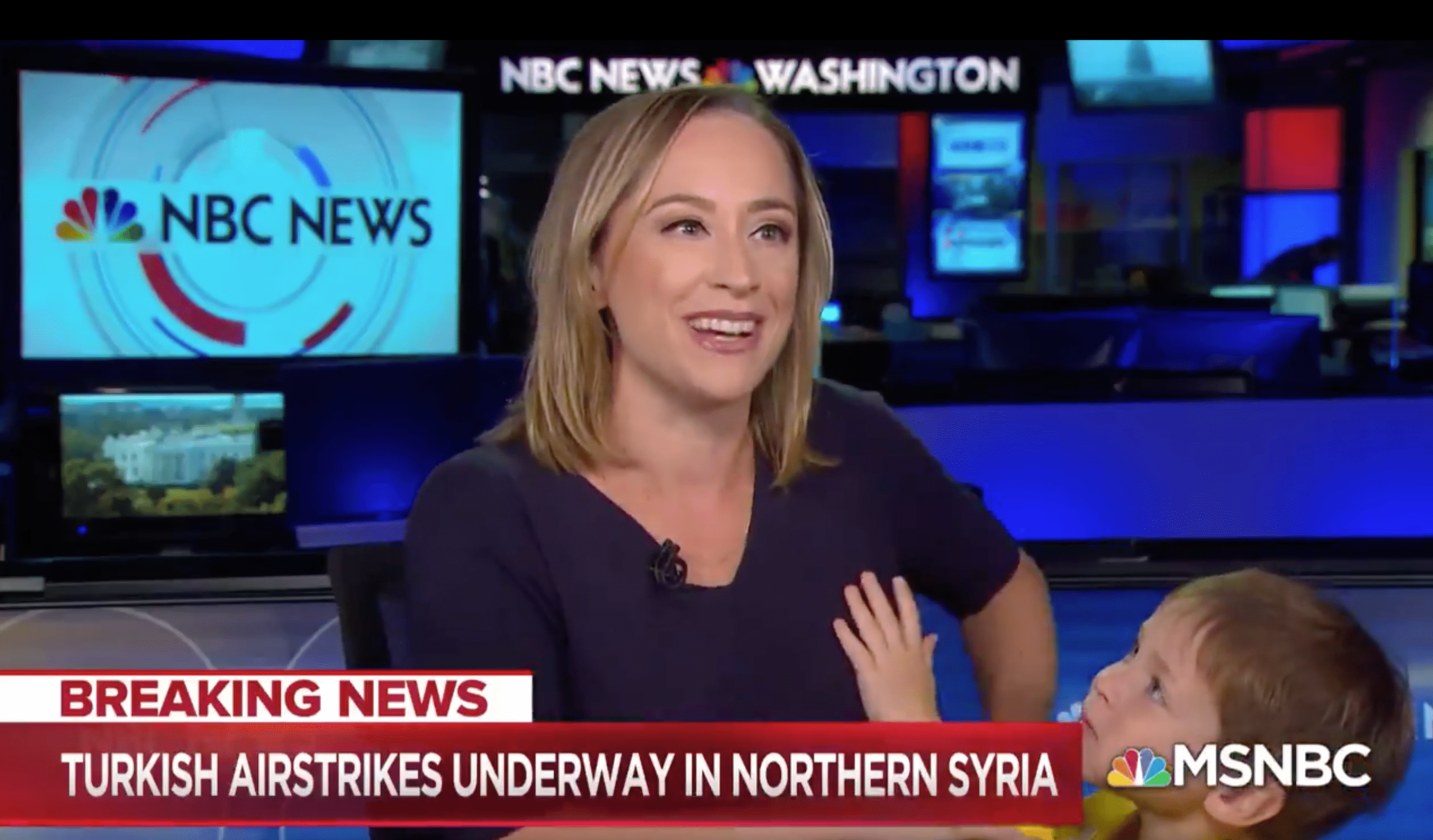 MSNBC's Courtney Kube's son adorably interrupts mom's show | Source: Twitter/MSNBC