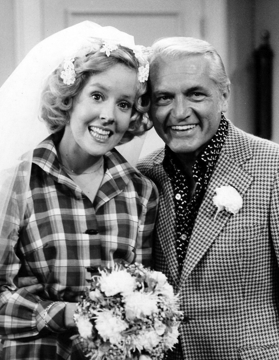 "Photo of Georgia Engel and Ted Knight from the television program ""The Mary Tyler Moore Show,"" in 1975. 