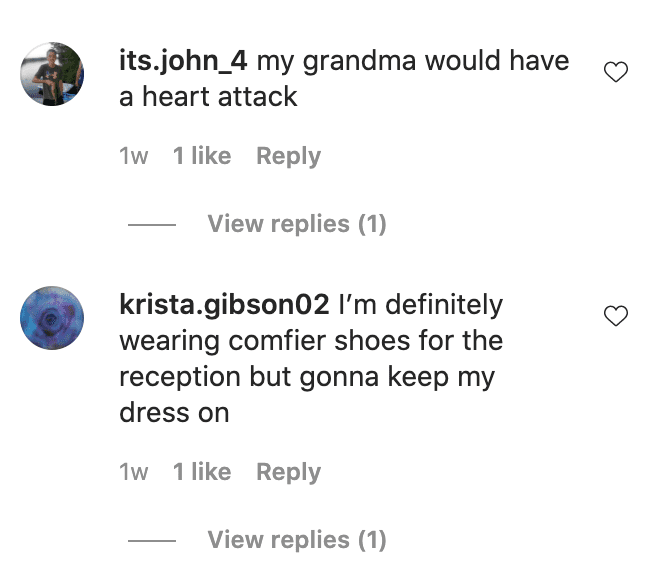Users comment on a bride and groom who changed into sweatsuits for their wedding reception   Photo: Instagram/wildwoodfilms