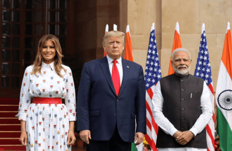 During their tour of India Melania Trump and Donald Trump pose for official photographs Narendra Modi at Hyderabad House on February 25, 2020, in New Delhi, India, | Source: T. Narayan/Bloomberg via Getty Images