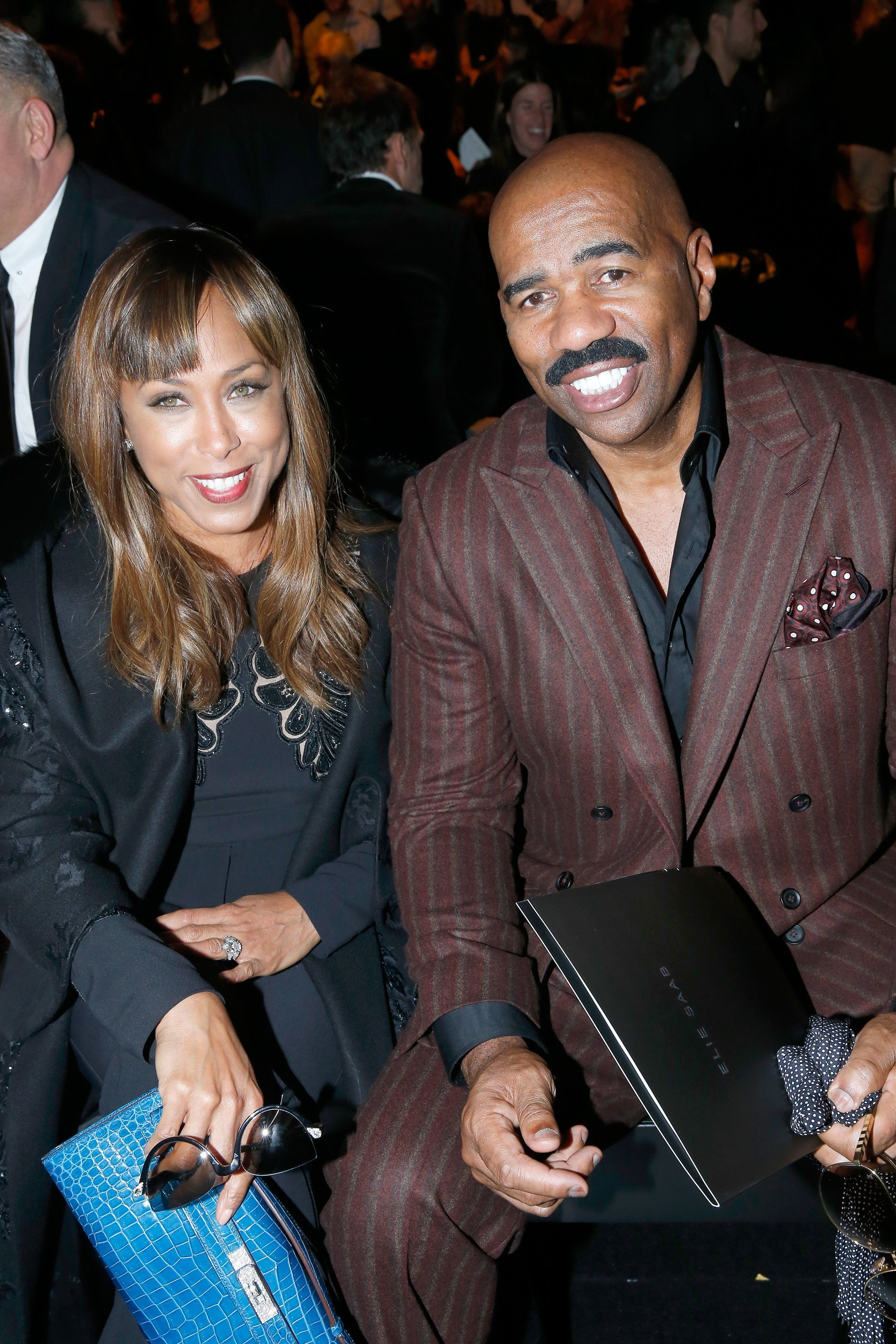 : TV Host Steve Harvey with his wife Marjorie attend the Elie Saab show as part of the Paris Fashion Week Womenswear Spring/Summer 2016 |Photo: Getty Images