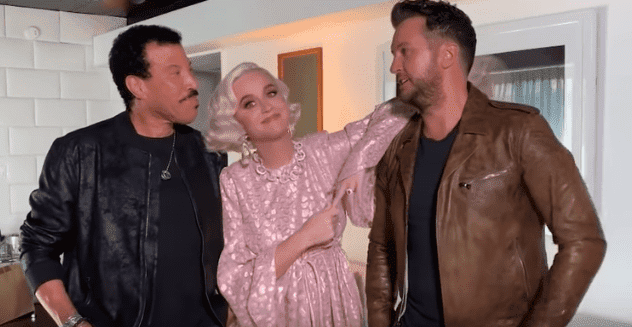 "Katy Perry, Lionel Richie, and Luke Bryan shares Katy's pregnancy news with ""American Idol"" fans on March 8, 2020. 