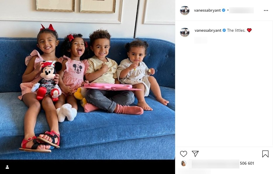 A photo of Capri and Bianka Bryant with their friends seated on a couch. | Photo: Instagram/Vanessabryant