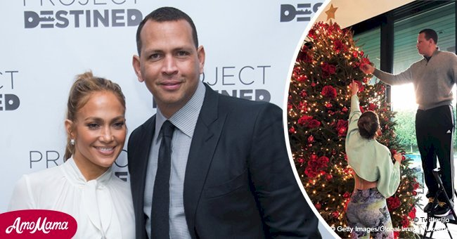 Jennifer Lopez shared a sweet photo of her family decorating their gorgeous Christmas tree
