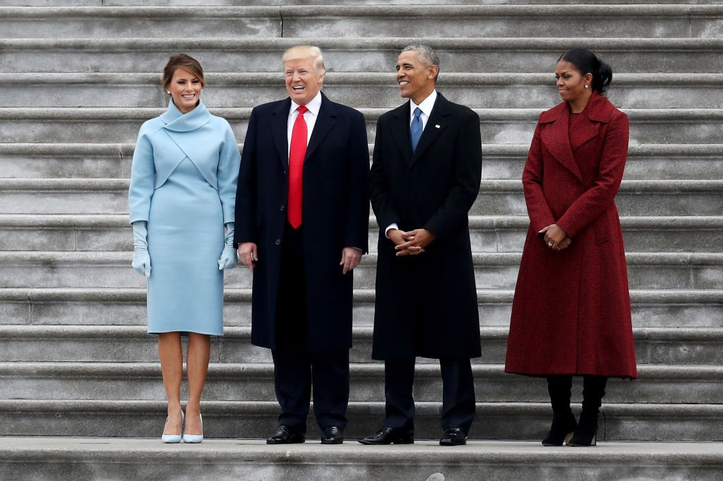 Melania Trump. Donald Trump, Barack Obama, and Michelle Obama on the West Front of the U.S. Capitol after the 58th presidential inauguration in Washington, D.C. on Friday, Jan. 20, 2017. | Photo: Getty Images