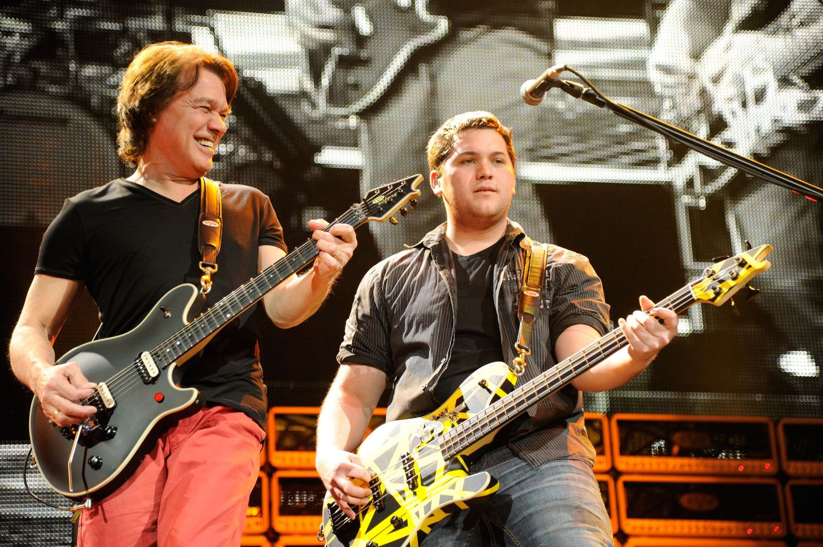 """Eddie Van Halen and Wolfgang Van Halen of Van Halen perform at """"A Different Kind of Truth"""" tour at Madison Square Garden on February 28, 2012 