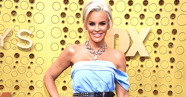Donnie Wahlberg's Wife Jenny McCarthy Stuns in Blue Belted Dress & Black Boots for Emmy Awards Carpet