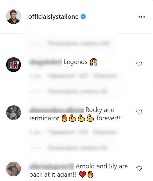 A screenshot of fan's comments on Sylvester Stallone's Instagram post   Photo: Instagram/officialslystallone