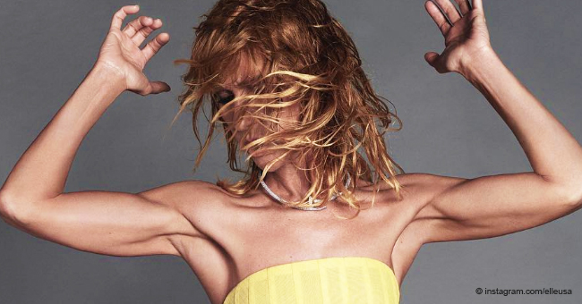 Céline Dion Flaunts Her Muscular Arms in a Yellow Top and Curve-Hugging Latex Leggings for Elle Magazine