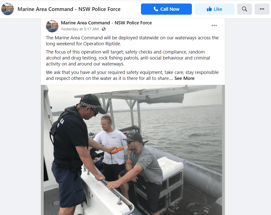 Marine Area Command in New South Wales sends out a public announcement to skippers on the south coast. | Photo: Facebook/NSWPoliceMAC