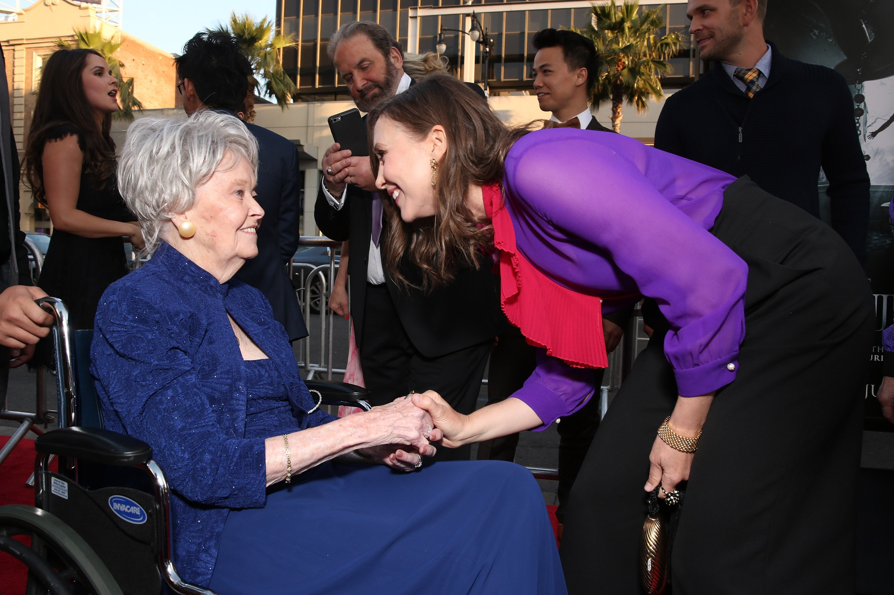 """Lorraine Warren and Vera Farmiga at the premiere of """"The Conjuring 2"""" in 2016 