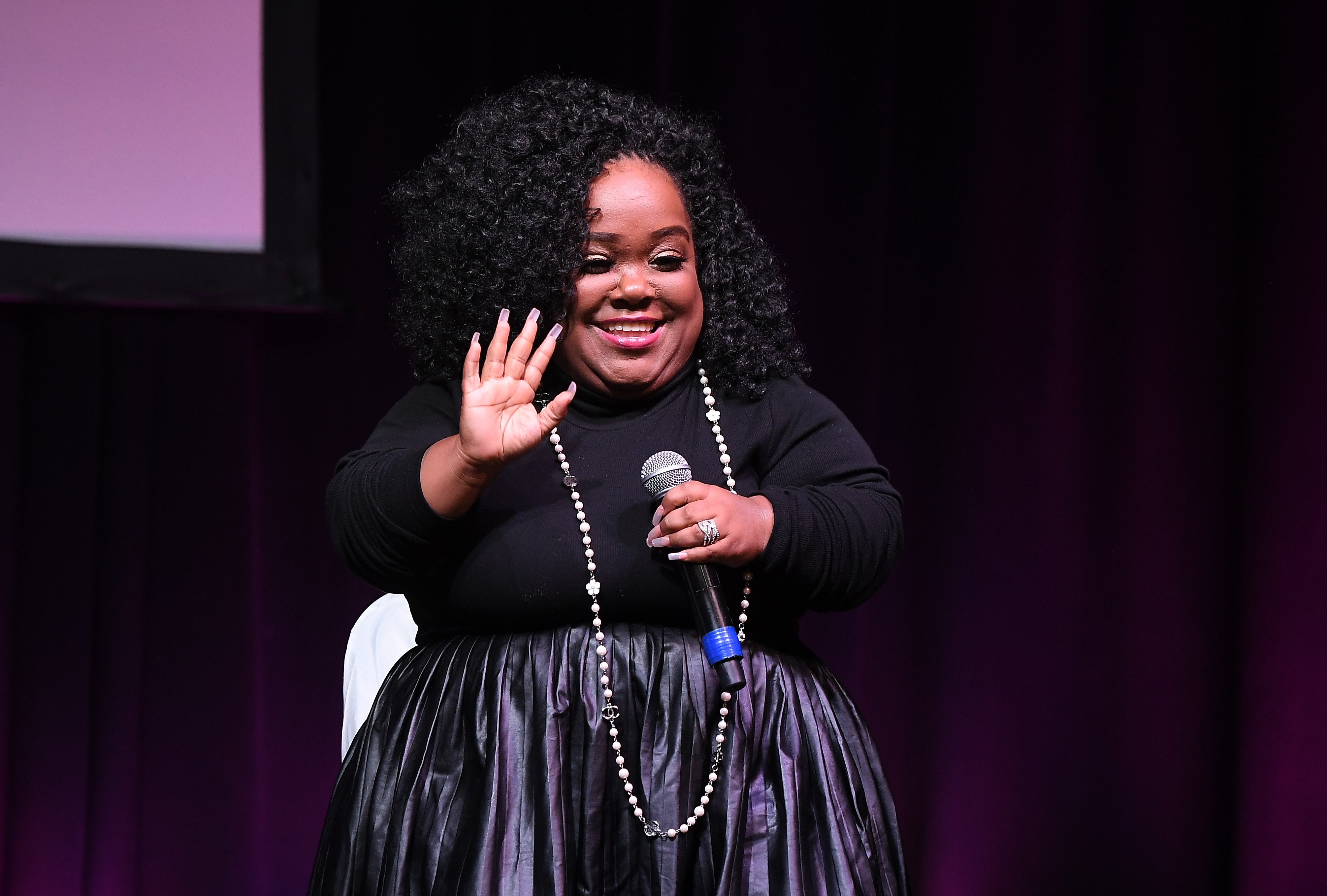 """Ashley """"Minnie"""" Ross speaks onstage during 2019 Atlanta Ultimate Women's Expo on November 10, 2019, in Atlanta, Georgia. 