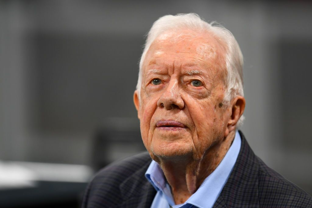 Former president Jimmy Carter prior to the game between the Atlanta Falcons and the Cincinnati Bengals at Mercedes-Benz Stadium on September 30, 2018 in Atlanta, Georgia | Photo: Getty Images