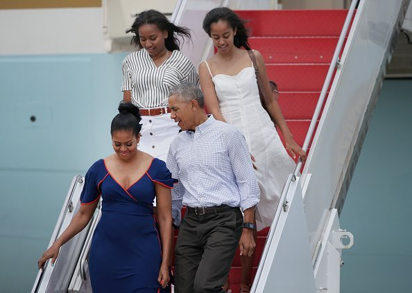 Barack Obama, First Lady Michelle Obama, and their daughters, Sasha and Malia at Joint Base Cape Cod.| Photo: Getty images.