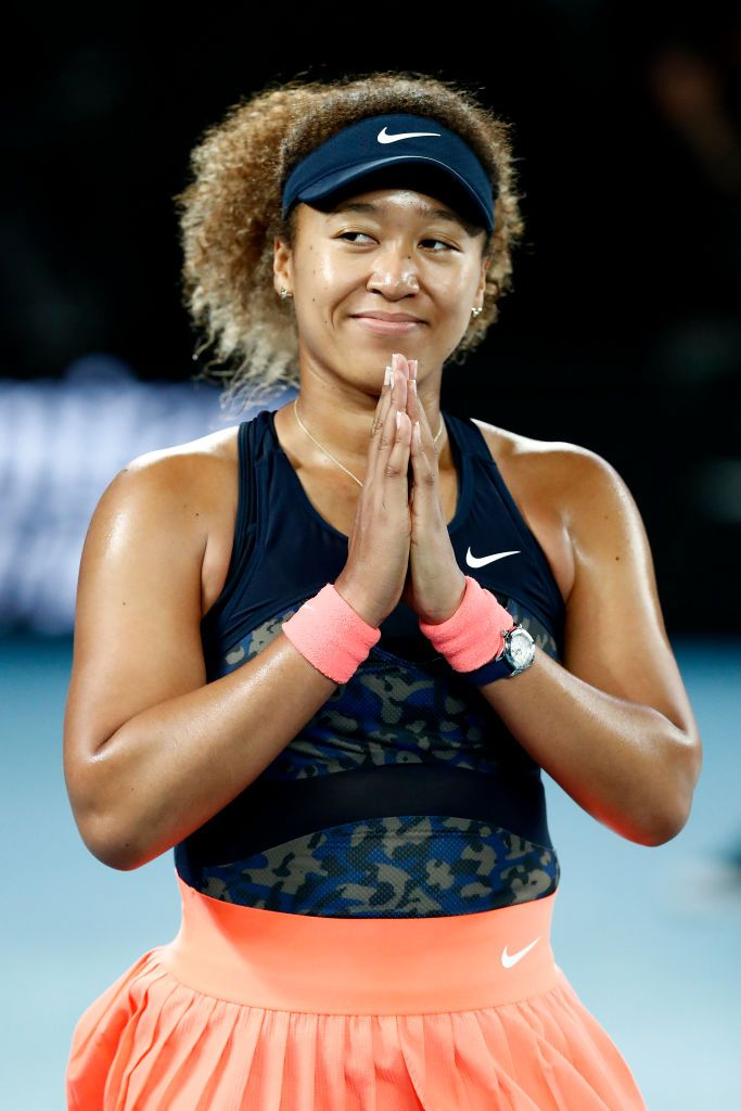Naomi Osaka of Japan celebrates winning her Women's Singles Final match against Jennifer Brady of the United States during day 13 of the 2021 Australian Open at Melbourne Park on February 20, 2021 | Getty Images
