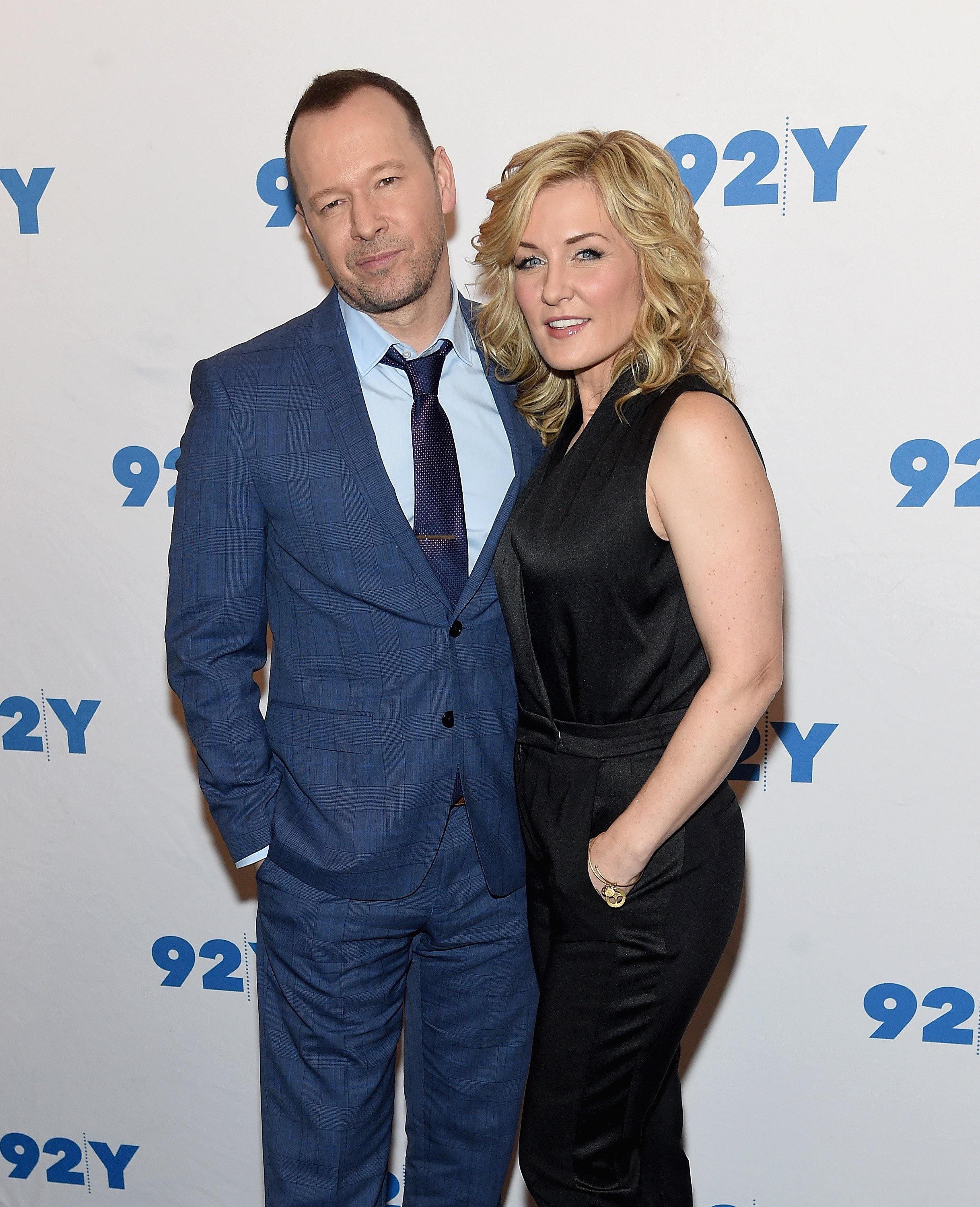 ": Donnie Wahlberg and Amy Carlson attend the ""Blue Bloods"" 150th Episode Celebration at 92Y on March 27, 2017 in New York City. 
