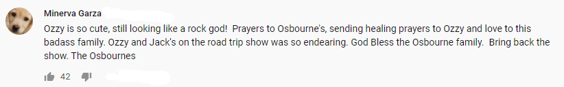 YouTube comment on Ozzy Osbourne announcing his Parkinson's disease | Source: YouTube/Good Morning America
