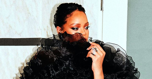 Rihanna Shares Photos of Her Face Partly Covered by Ruffles from Her Black Minidress on Oscars Night