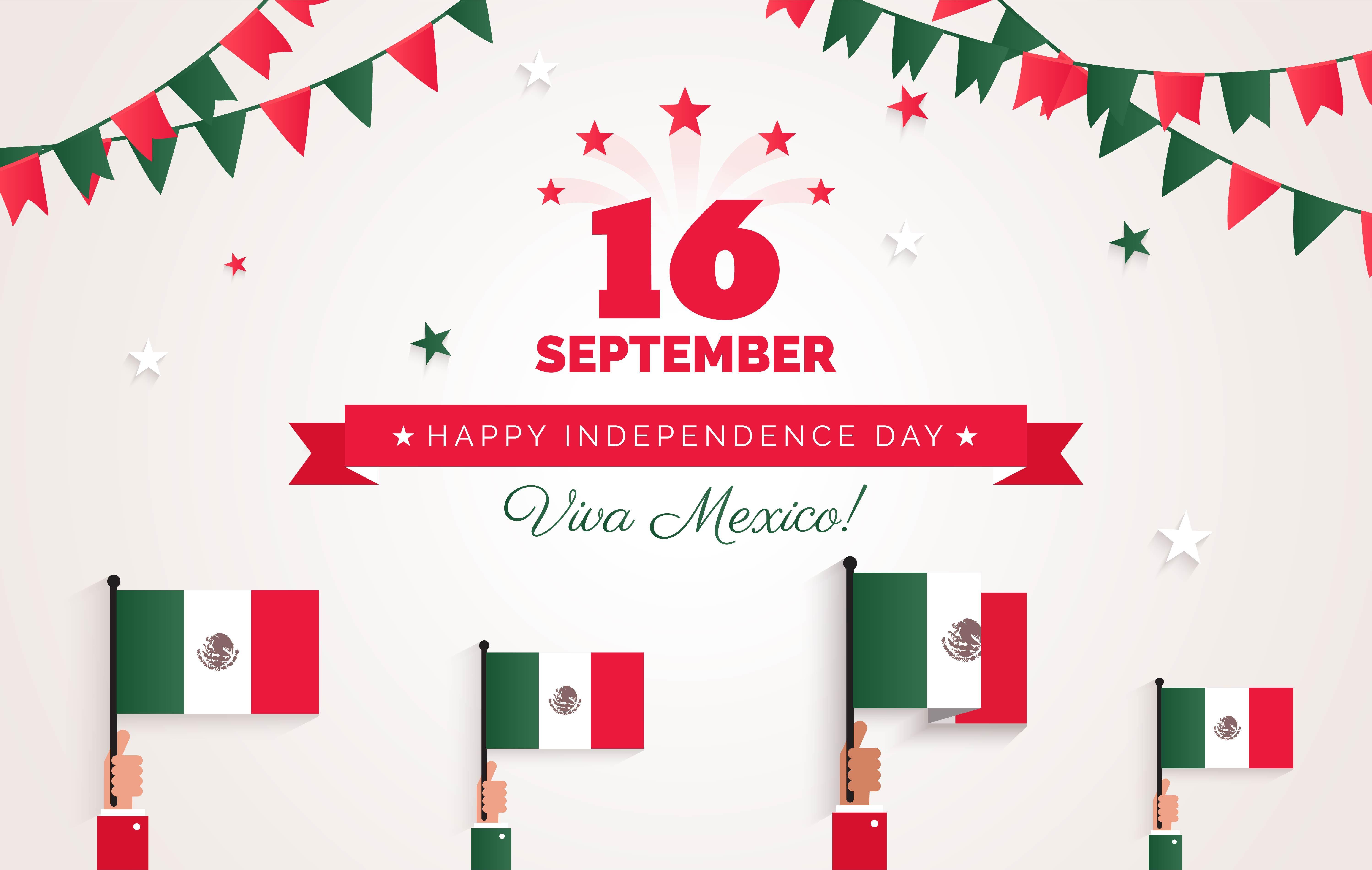 Tarjeta de felicitación de día de la independencia de México. | Fuente: Shutterstock