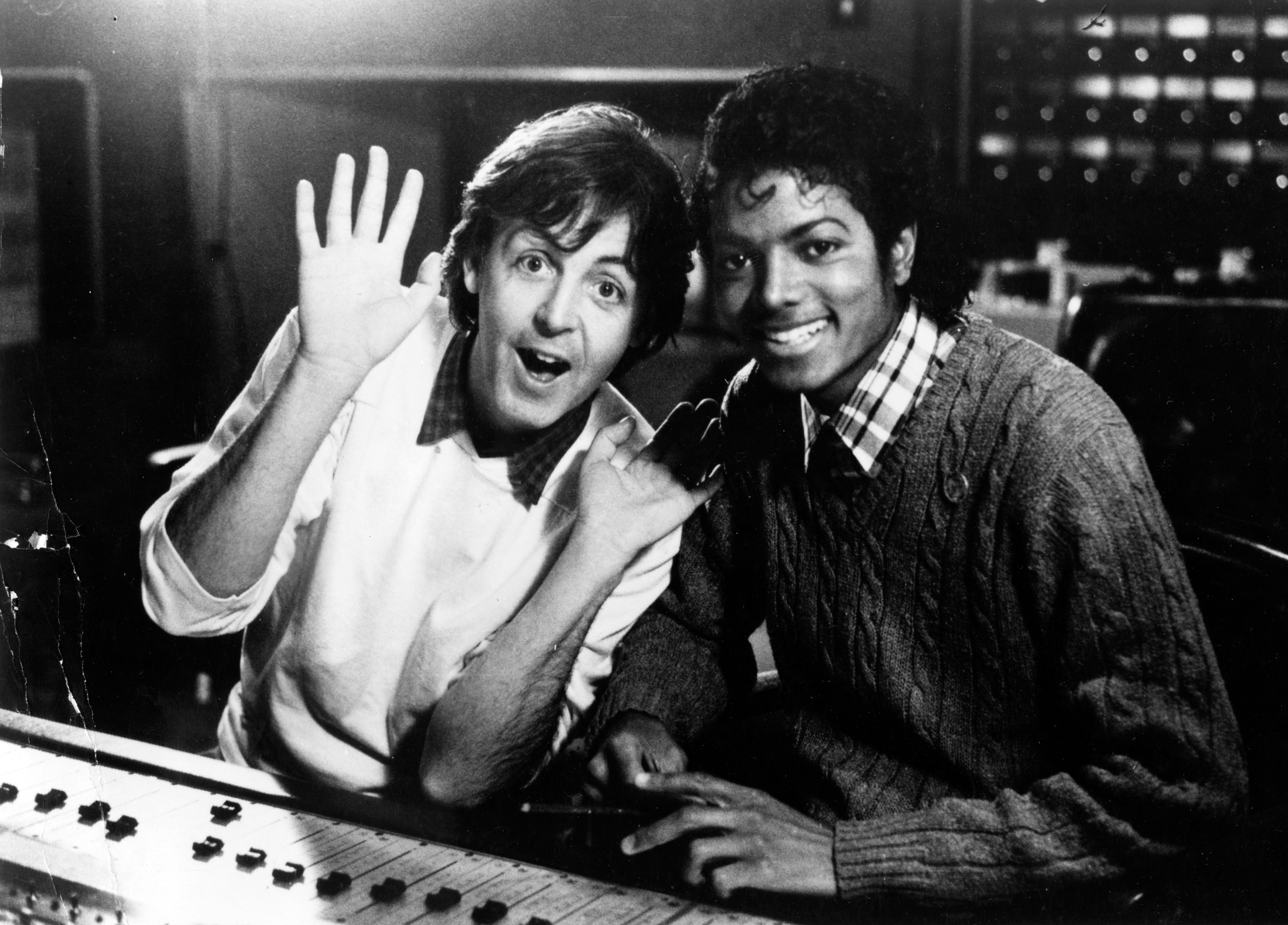 African American musician Michael Jackson and Paul McCartney in the studio, 1980. | Getty Images