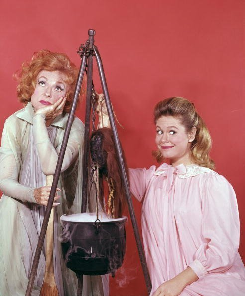 """Agnes Moorehead as Endora, Elizabeth Montgomery Samantha on """"Bewitched"""" 