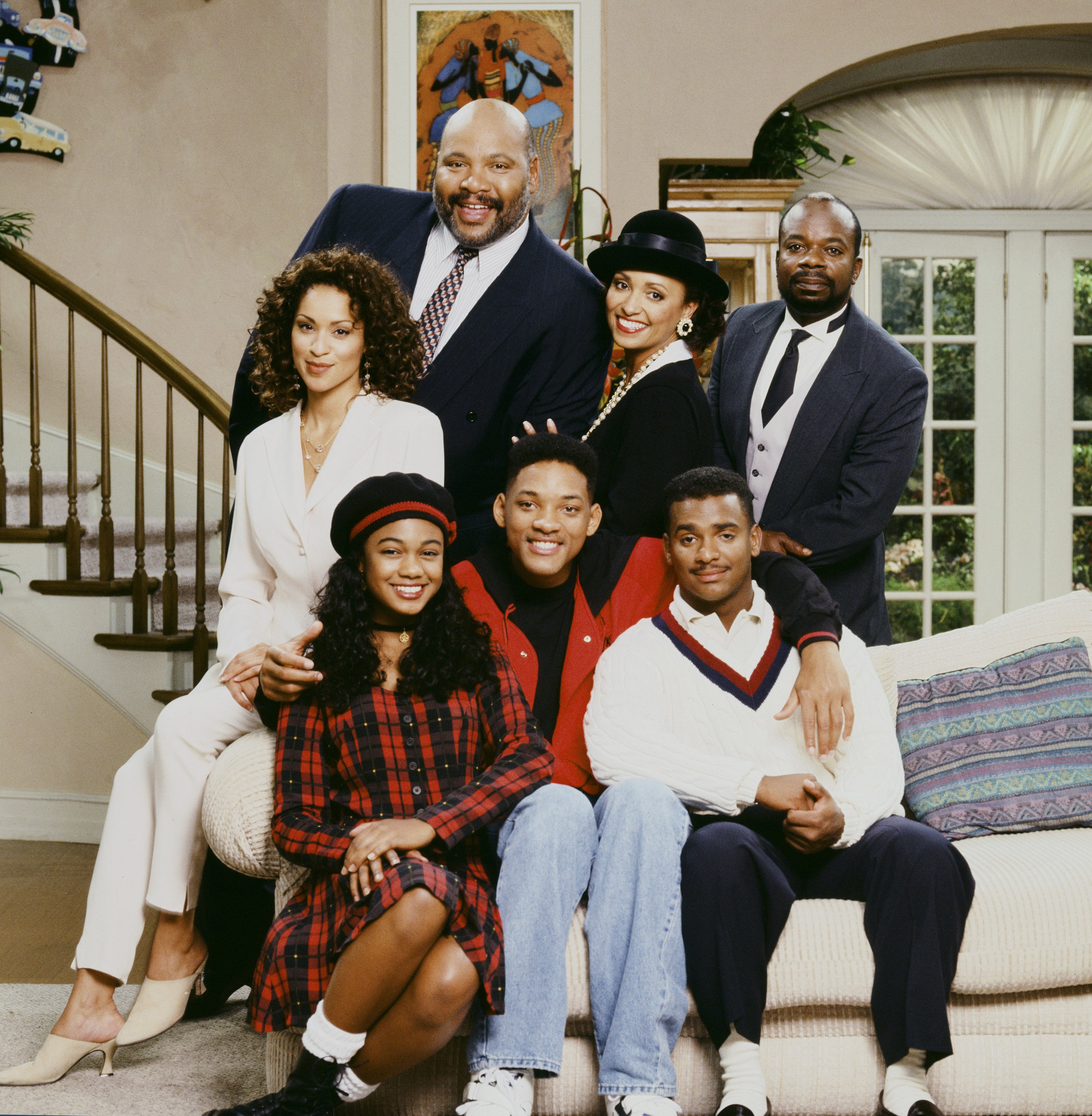 """""""The Fresh Prince of Bel-Air"""" cast:  Karyn Parsons, James Aver,  Daphne Reid, Joseph Marcell, Tatyana Ali, Will Smith, and Alfonso Ribeiro Photo: GettyImages"""