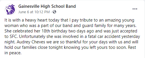 Gainesville High School Band shared a tribute for the late student.   Photo: Facebook/GainesvilleHighSchoolBand