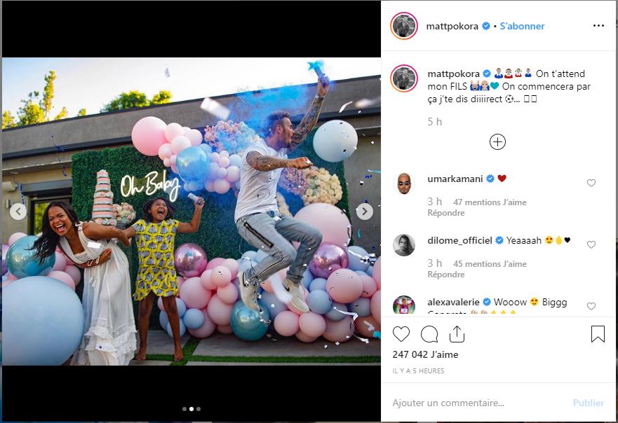 M. Pokora annonce le sexe de son futur bébé   mattpokora - Instagram