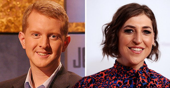 """TV host and author Ken Jennings poses in this undated handout photo on """"Jeopardy!"""" (left), and neuroscientist and actress Mayim Bialik arriving at the Saban Community Clinic's 43rd Annual Dinner Gala at The Beverly Hilton Hotel on November 18, 2019 in Beverly Hills, California (right) 