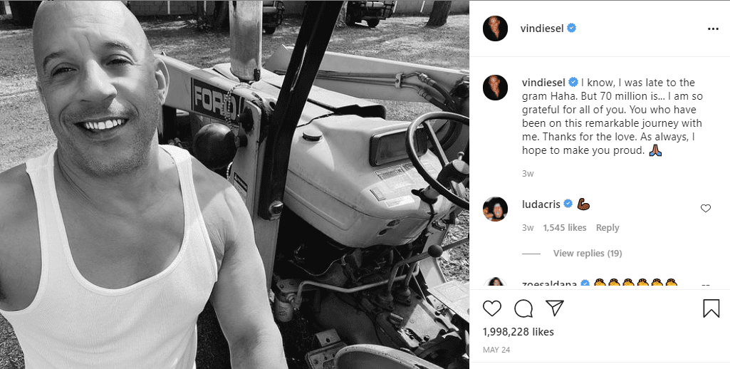 Vin Diesel thanking his fans for their support on May 24, 202, with a black-and-white image  Photo: Instagram/@vindiesel