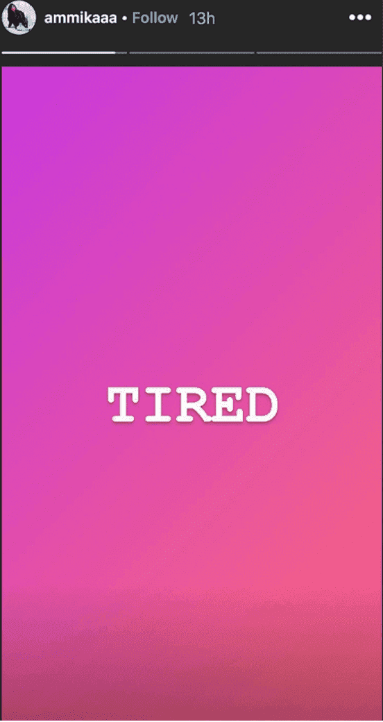 "Screenshot of Chris Brown's rumored ex Ammika Harris' cryptic message about being ""Tired"" 
