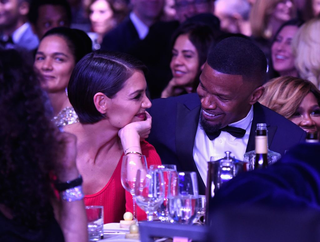 Jamie Foxx and Katie Holmes attend the pre-GRAMMY Gala. | Source: Getty Images