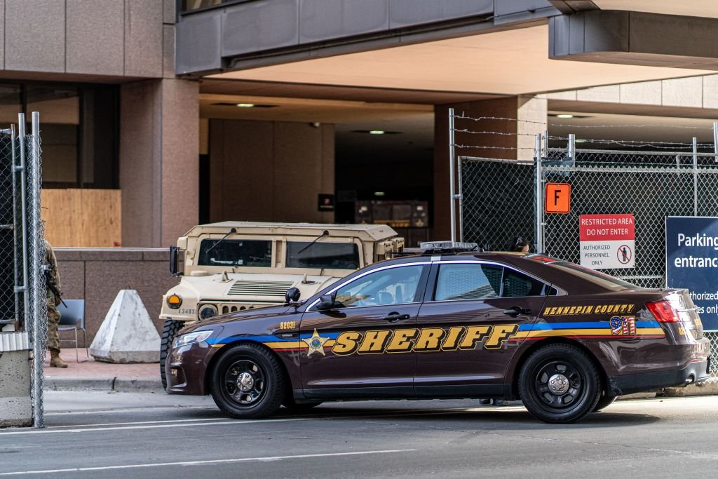 A Hennepin County Sheriff vehicle enters the Hennepin County Government Center on March 9, 2021   Photo: Getty Images