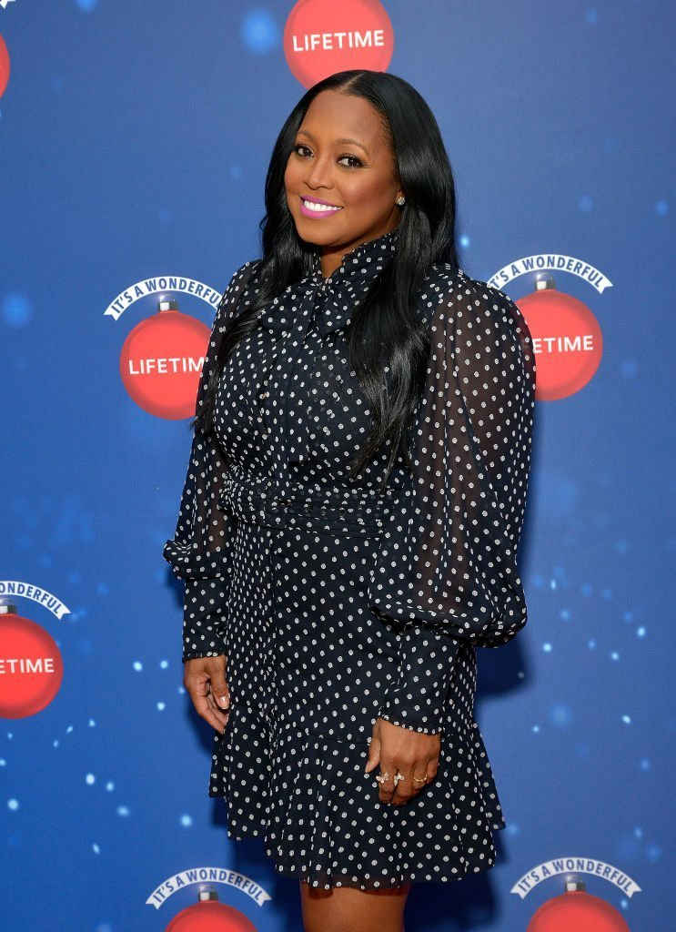 """Actor Keshia Knight Pulliam attends Say """"Santa!"""" with It's A Wonderful Lifetime photo experience at Glendale Galleria 