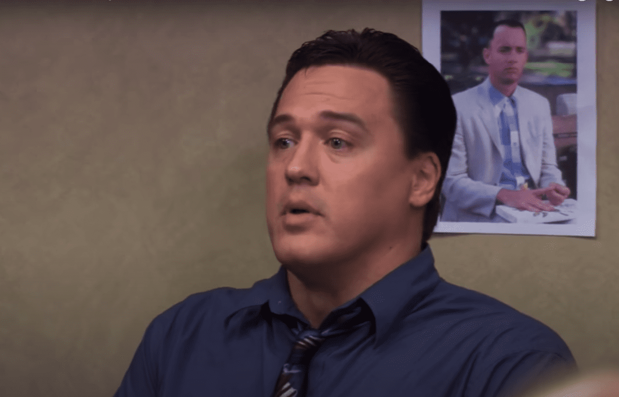 """A screenshot of Billy Merchant played by Mark York in """"The Office"""" 