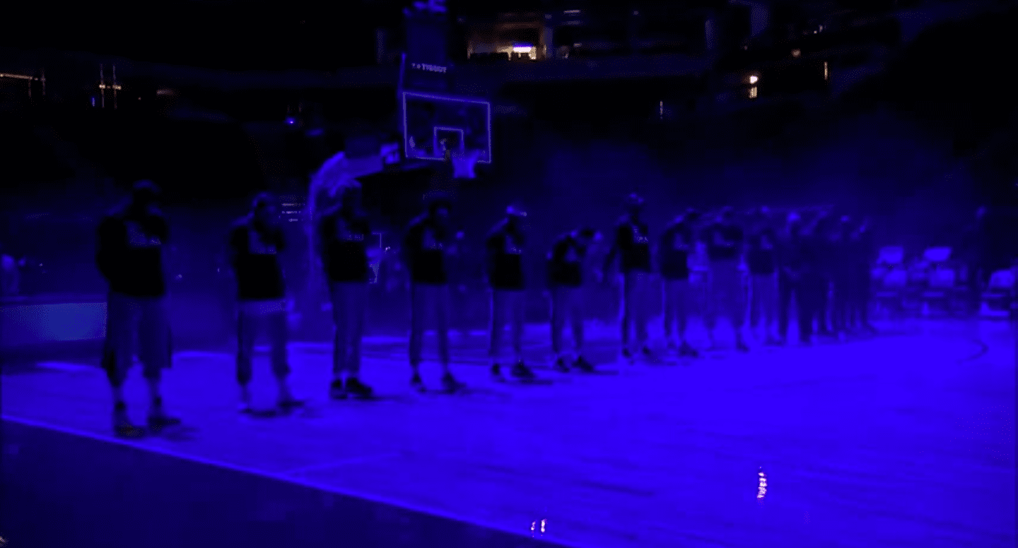 Screenshot of video showing basketball players having a moment of silence for Daunte Wright from April 13, 2021. | Source: YouTube/ YESNetwork