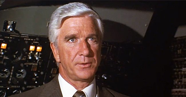 """A still image of Leslie Nielsen from the 1980 comedy """"Airplane!"""" 