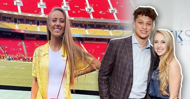 Brittany Matthews beams while posing at a football stadium, the next image shows her and fiance Patrick Mahomes attending Leigh Steinberg Super Bowl Party on February 3, 2018 in Minneapolis, Minnesota   Photo: Getty Images and Instagram/@brittanylynne