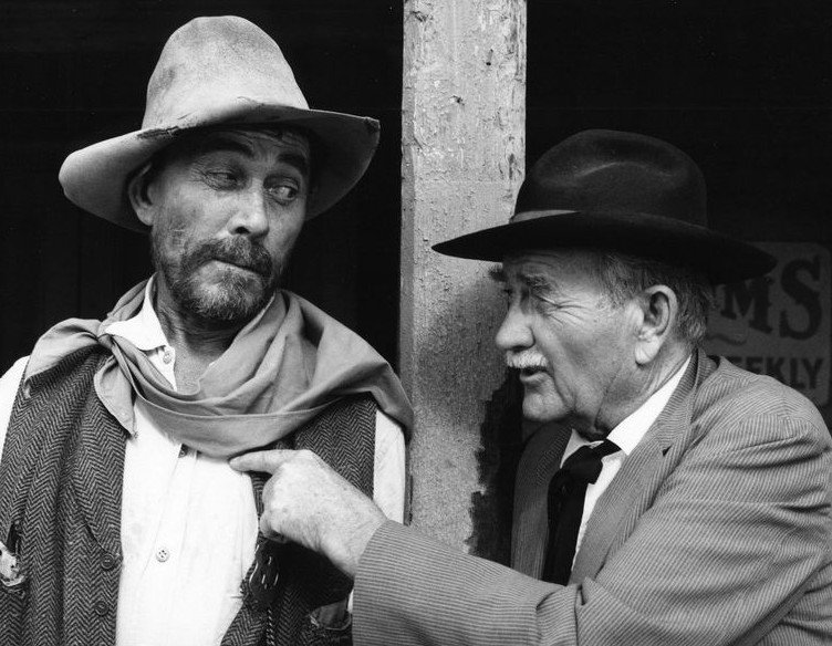 "Ken Curtis (Festus Hagen) and Milburn Stone (Doc Adams) from the television program ""Gunsmoke.,"" July 19, 1974. 