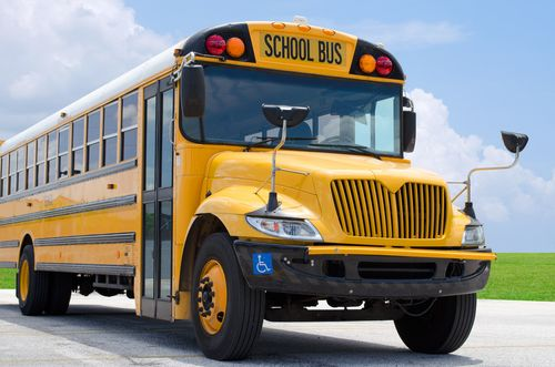 A yellow school bus parked on a road. | Source: Shutterstock