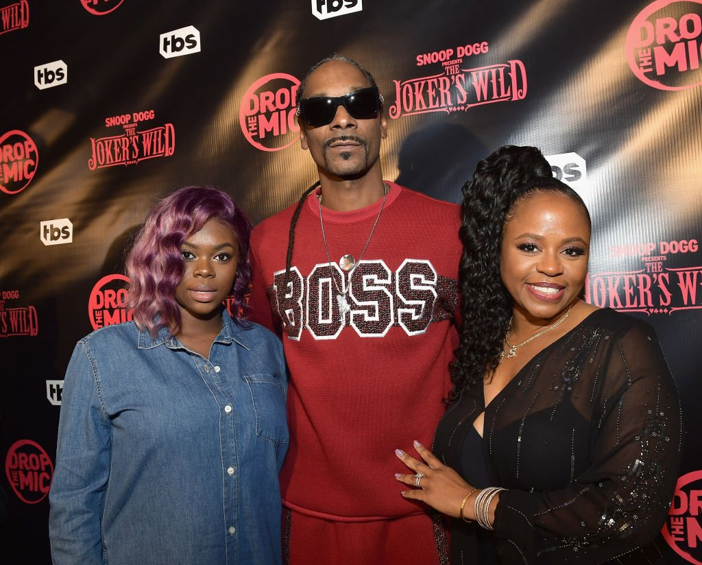 """Cori Broadus, Snoop Dogg and Shante Broadus at TBS'"""" Drop the Mic"""" and wild premiere party of """"The Joker"""" on October 11, 2017 in Hollywood, California. 