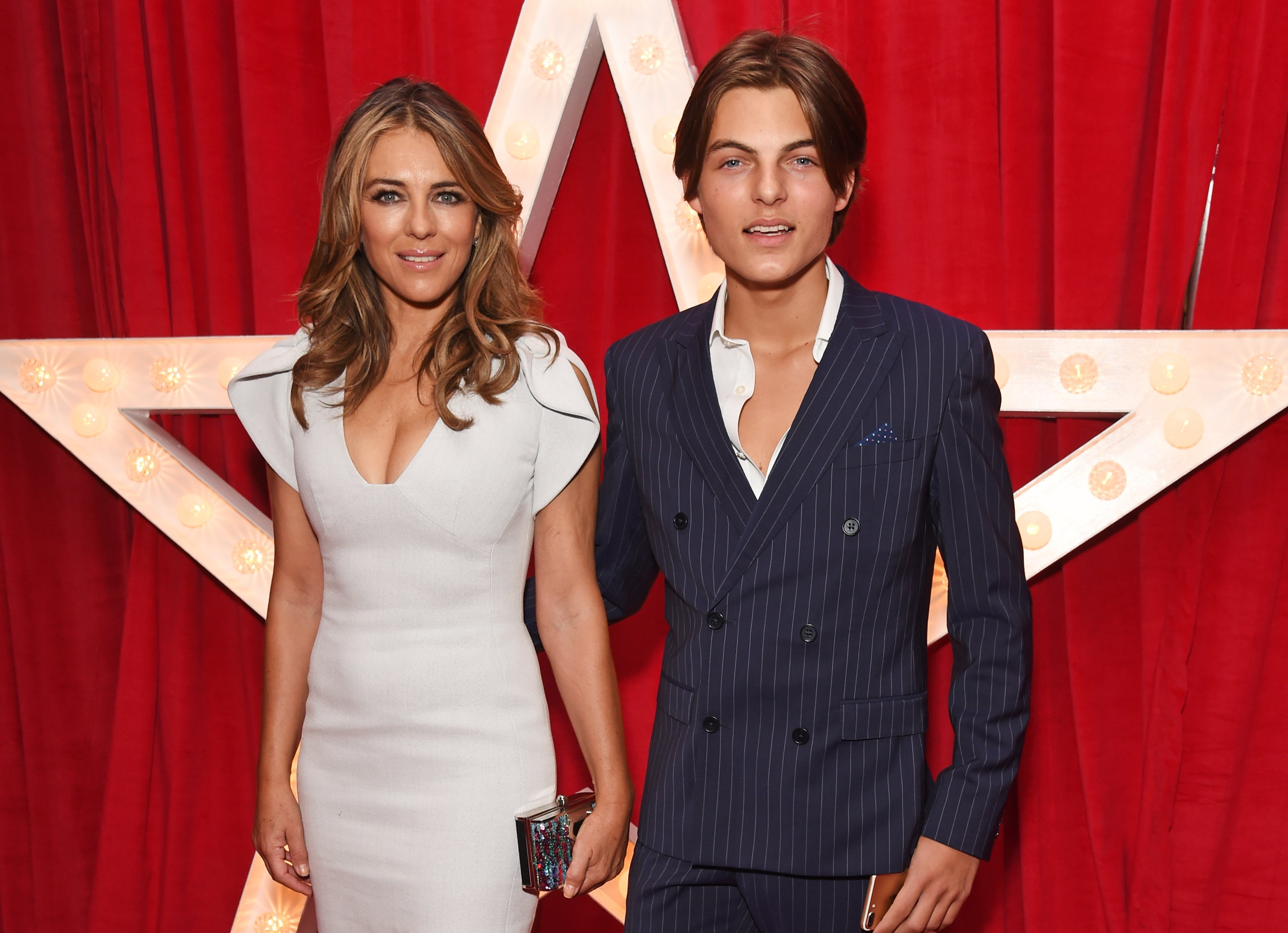 """Elizabeth Hurley and son Damian Hurley attend the World Premiere of """"Paddington 2"""" at Odeon Leicester Square on November 5, 2017 in London, England   Source: Getty Images"""